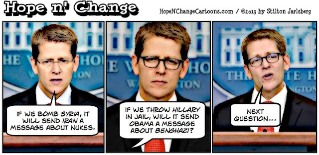 obama, obama jokes, carney, cartoon, conservative, tea party, hope n' change, hope and change, stilton jarlsberg, syria, iran, benghazi, hillary
