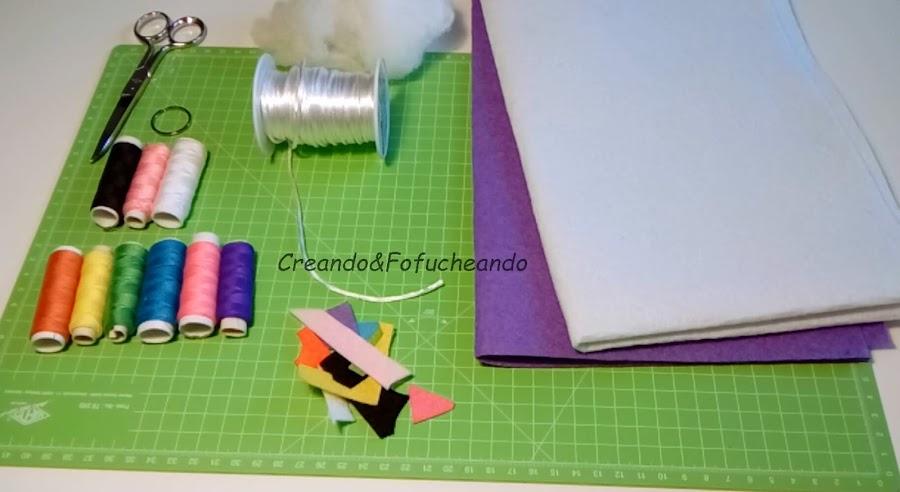 materiales-llavero-de-unicornio-en-fieltro-creandoyfofucheando