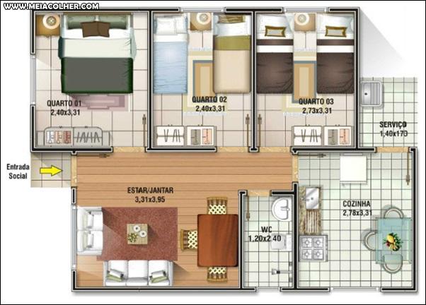Casa de três quartos e um banheiro 3
