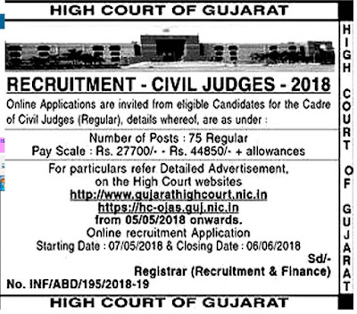 High Court of Gujarat Civil Judge Recruitment 2018 Apply Online 75 Post hc-ojas