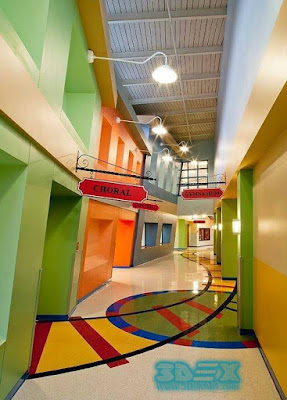3d corridor flooring for hotel hallway
