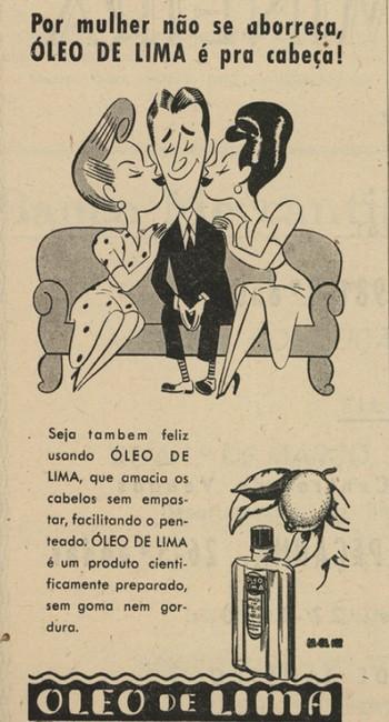 Propaganda antiga do Óleo de Lima apresentado nos anos 50 para facilitar o penteado