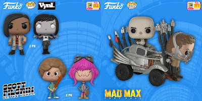 San Diego Comic-Con 2018 Exclusive Movies POP! & Vynl Vinyl Figures by Funko of Scott Pilgrim vs The World, Mad Max Fury Road & The Royal Tenenbaums