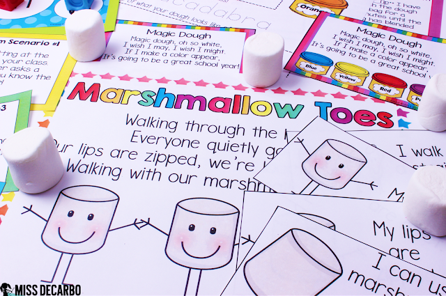 Marshmallow Toes & Voices classroom management activity (hands-on) This post contains a BIG collection of fun and engaging activities, lessons, and ideas for the first week of school! - by Miss DeCarbo
