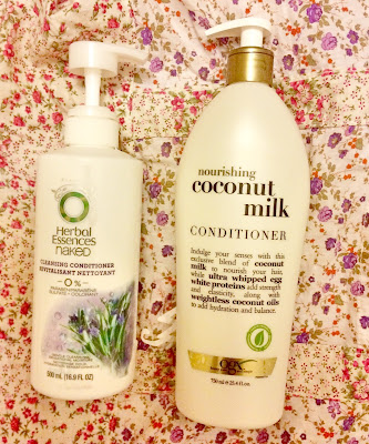 Herbal essences naked cleansing conditioner and organix nourishing coconut milk conditioner