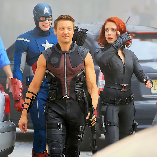Evans, Johansson and Renner in The Avengers 2012 movieloversreviews.filminspector.com