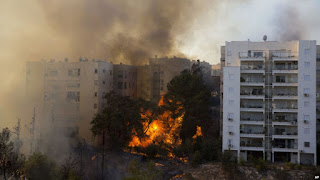 Israel terkena musibah kebakaran Hebat Palestina Tawarkan Bantuan guna padamkan Api - Commando