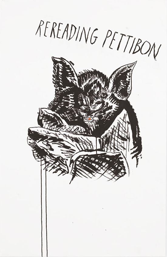 Raymond Pettibon No Title (Rereading Pettibon), 2017 Ink on paper 101.6 x 66 cm