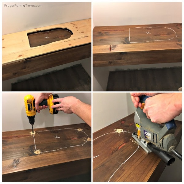 installing sink in floating wood vanity