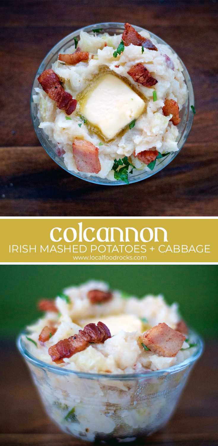 Colcannon is an amazing combination of buttery potatoes, cabbage and a touch of bacon. The perfect side dish for your St. Patrick's Day feast. | Local Food Rocks