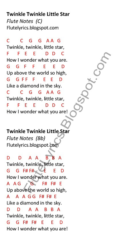 Xylophone xylophone chords twinkle twinkle little star : Twinkle Twinkle Little Star Flute Notesart4search.com | art4search.com