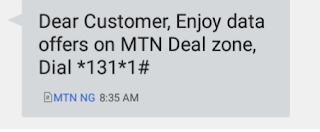 A mess to received when activating Mtn double data offer