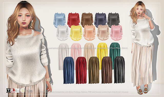 {amiable}Halterneck Loose Knit & Pleated Chiffon Maxi Skirt@TRES CHIC(50%OFF SALE).