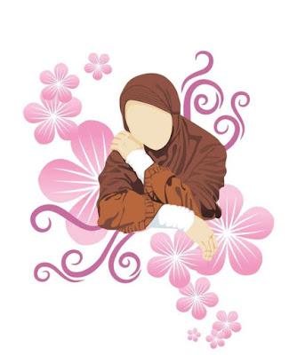 kartun animasi muslimah cantik dengan bunga