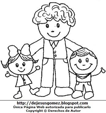 Sonrisas de un padre con sus hijos para colorear. Dibujo de sonrisas hecho por Jesus Gómez