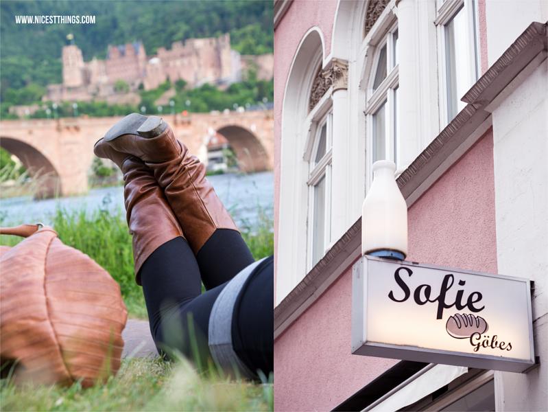 Heidelberger Neckarwiese und Hausfassade Baeckerei Goebes