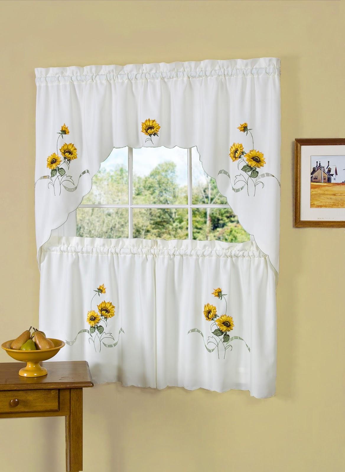 Sunflower curtains for kitchen ideas kitchen remodel for Sunflower kitchen ideas