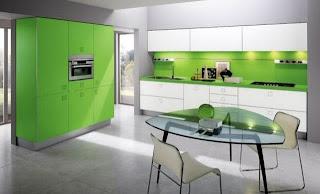 Cocina decorada verde