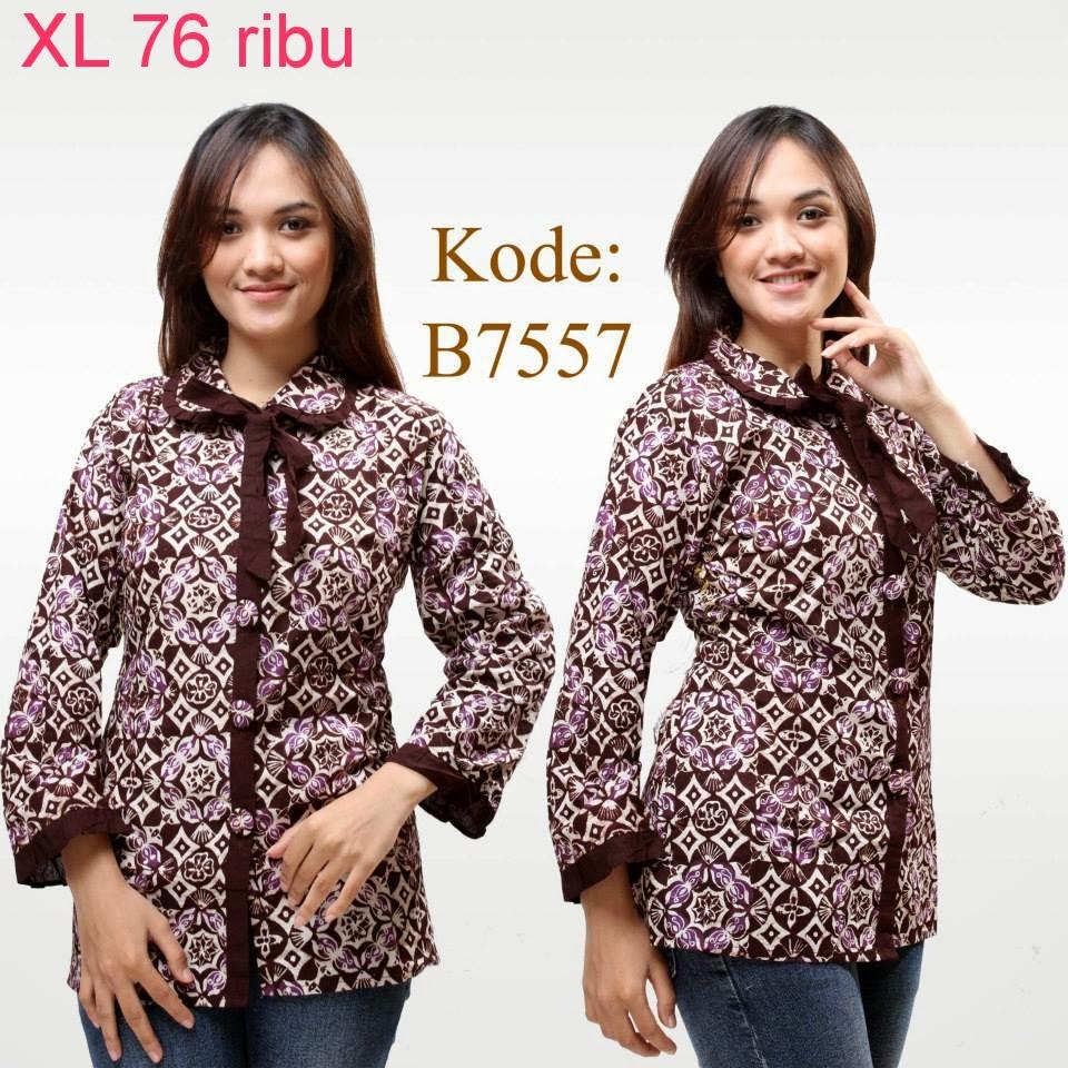 Model Baju Batik Lengan Panjang Modern: Model Baju Atasan Batik Wanita Modern