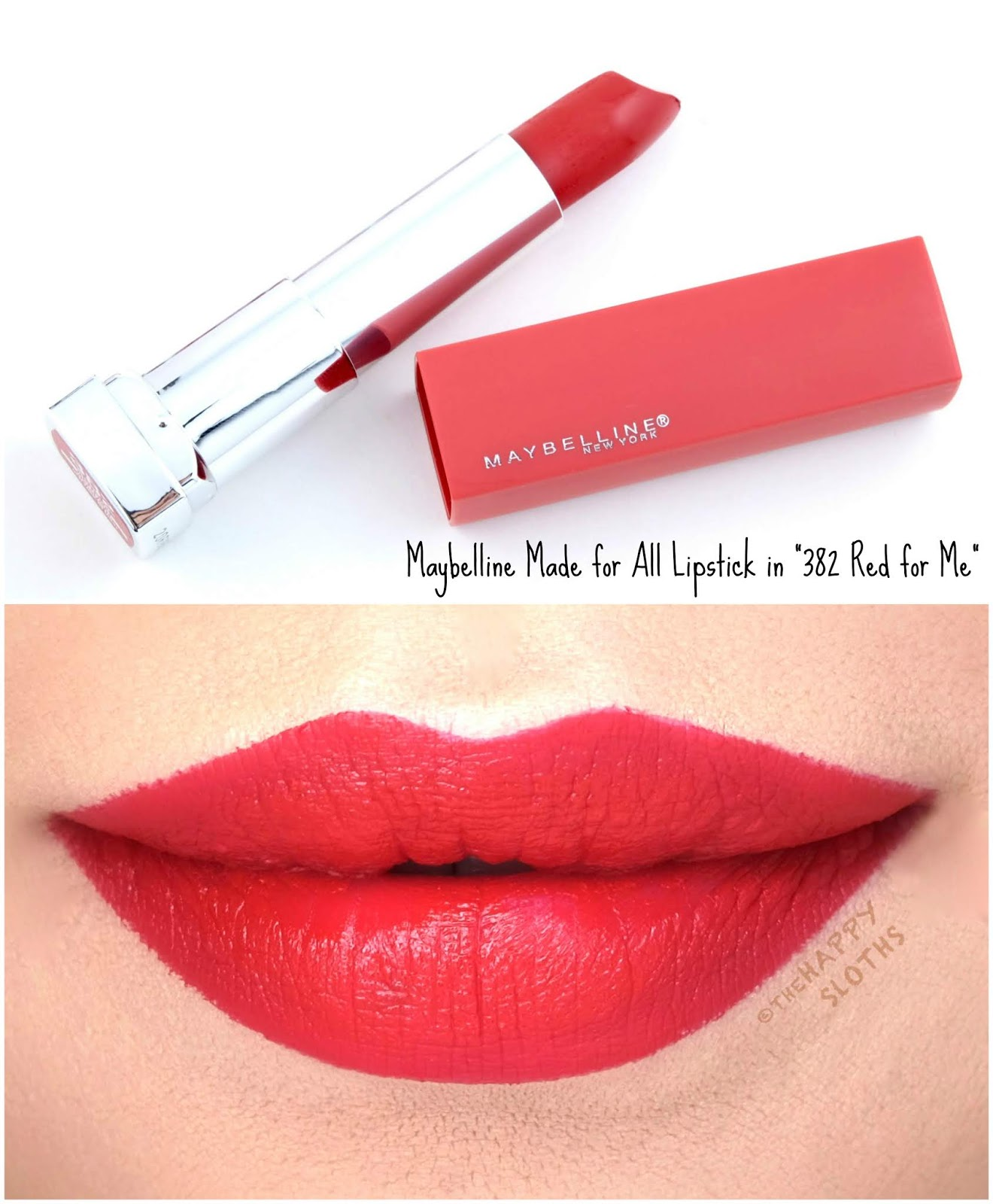 "Maybelline | Made for All Lipstick by Color Sensational in ""382 Red for Me"": Review and Swatches"