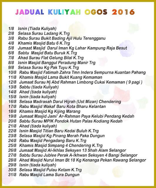 Jadual Kuliah Ustaz Azhar Idrus Bulan OGOS 2016