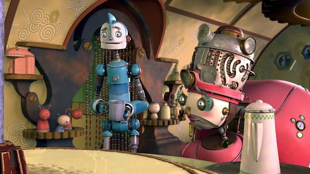 Render en 3D de la película Robots de los personajes Rodney y Tia Turbina