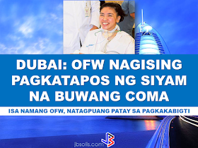 """An OFW in Dubai, UAE has been awakened after 9 months of being in coma. Perlie almonte, 35 has been brought first to Al Rashid Hospital for treatment last April 18, 2015 after she was found unconscious in the bathroom of her house.   The head of Critical Care Department at Rashid Hospital Dr Zeyad Al Rais,  said  that Almonte fell into a coma because of intracerebral haemorrhage, a life-threatening type of stroke caused by bleeding within the brain tissue. """"Perlite underwent a surgical intervention to drain the blood. Due to the critical location of the bleeding, the respiratory and hemodynamic functions were affected, and she was kept on a ventilator for more than two weeks, hence the decision was taken to perform tracheostomy, which helped her to gradually be weaned off the mechanical ventilation. We also started early physiotherapy to enhance her muscular power, while she was in coma,""""Dr Al rais said. Almonte, working a supervisor in a courier company before the accident happened, has nothing but gratitude to Dr Al Rais and his team of specialists, nurses and respiratory therapists, for the care they have shown during her stay at the hospital. """"I have spent over a year and nine months at Rashid Hospital, I now consider the doctors and nurses at the hospital my family. I am truly thankful for the treatment I have received at Rashid Hospital. I am glad that I am recovering and I can't wait to go to the Philippines to see my children,"""" Almonte said.  """"Now, after nine months on being comatose on ventilator with tracheotomy tube, I am happy to say that the patient is fully conscious ... and to see her sitting in the hospital bed, holding her phone, chatting with her family, and beside her is a bag of snacks, Al Rais said.  According to Dr Al Rais, Rashid Hospital is one of the most equipped and specialized critical care departments in the UAE, with a high success rate in treating cases similar to Almonte's. Almonte is expected to be flying home before the end of Febru"""