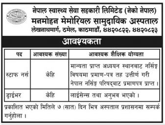Vacancy on Manmohan Memorial Hospital