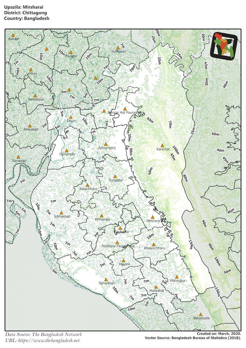 Mirsharai Upazila Elevation Map Chittagong District Bangladesh