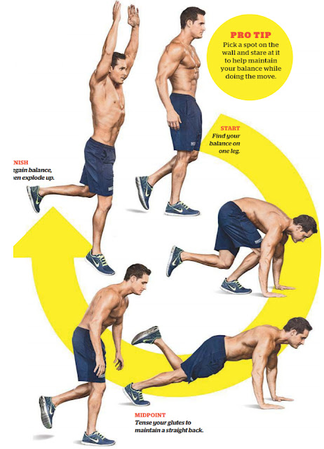 Challenge your balance and stamina by doing burpees on one leg