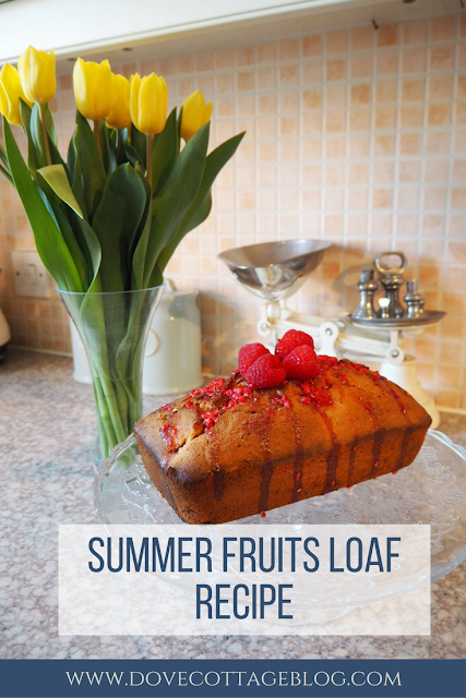 Summer fruits loaf cake recipe featuring raspberries