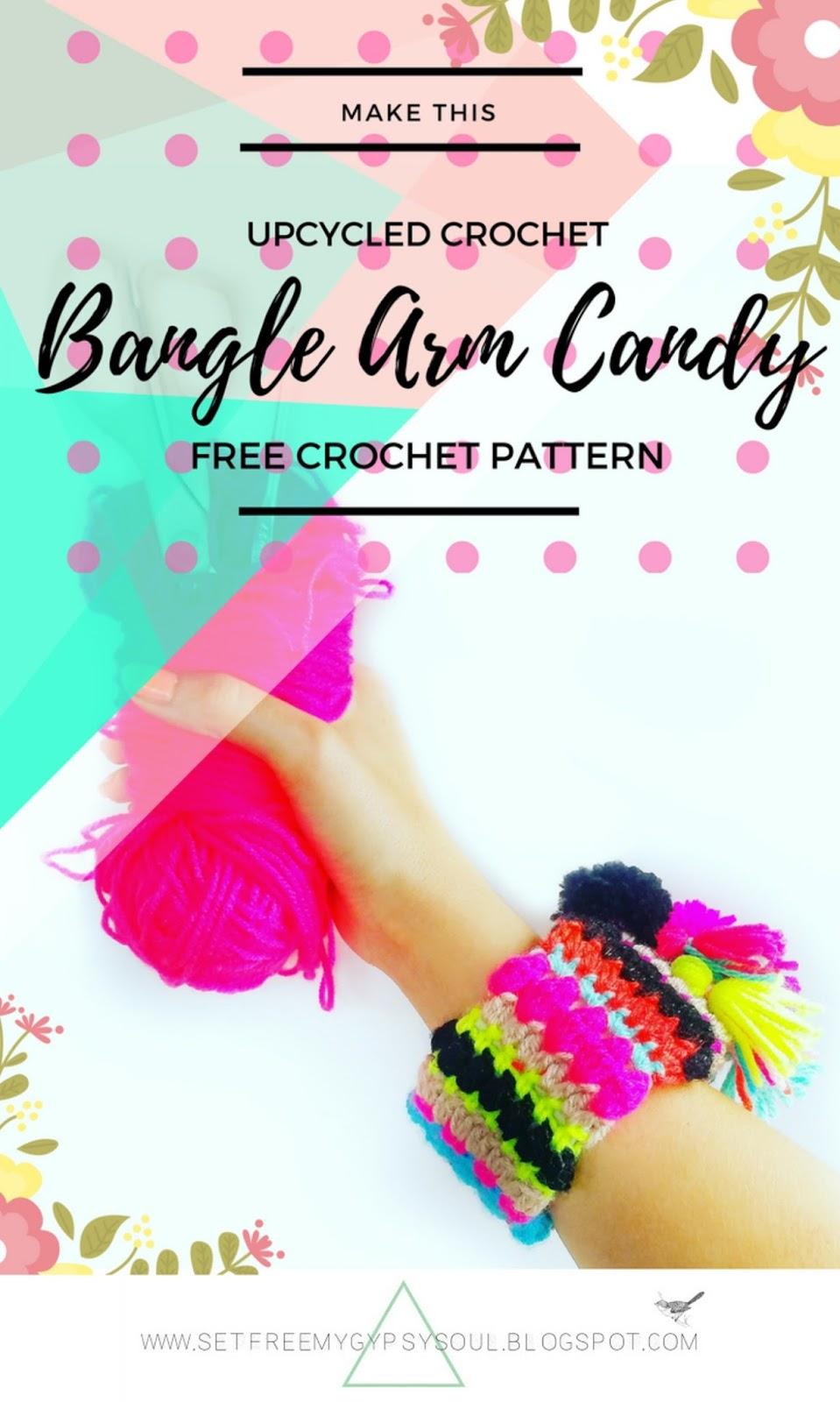 crochet jewelry jewellery bangle bracelet pattern free boho