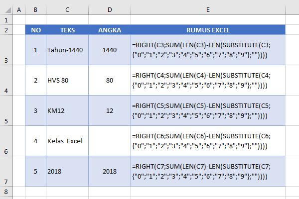 Rumus Excel Mengambil Angka