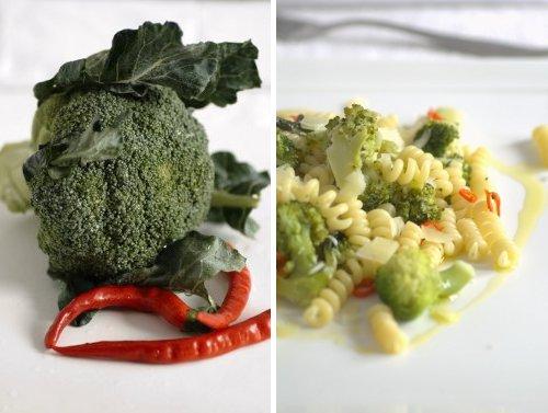 broccolo verde peperoncino e pasta