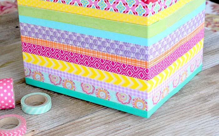Renkli Bantlarla Kutudan Organizer Yapımı 4