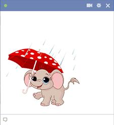 Umbrella Elephant Sticker