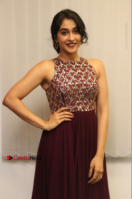Actress Regina Candra Latest Stills in Maroon Long Dress at Saravanan Irukka Bayamaen Movie Success Meet .COM 0006.jpg