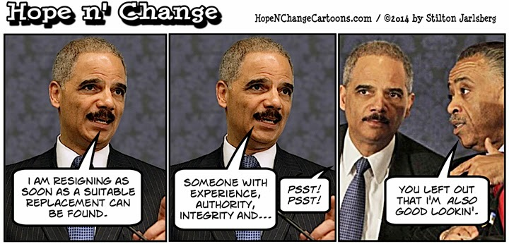 obama, obama jokes, cartoon, political, humor, hope n' change, hope and change, stilton jarlsberg, holder, sharpton, resignation