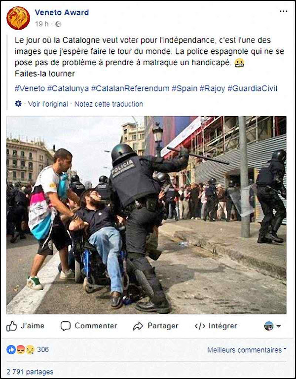 Espalhando falsas notícias nas redes sociais. O cadeirante foi agredido, mas em 2011 e por um policial do governo catalão reprimindo 'indignados' Fonte Le Monde.