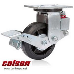 Bánh xe đẩy có phanh hãm giảm xóc Colson phi 150 | SB-6509-648BRK1 banhxepu.net