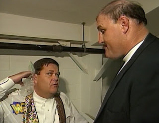 WWF / WWE - In Your House 17: Ground Zero - Jim Ross is upset about getting stunned by Steve Austin