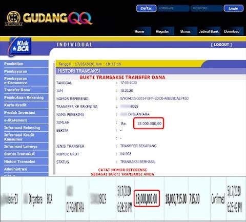 Selamat Kepada Member Setia GudangQQ WD sebesar Rp. 18,000,000.-