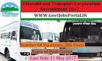 Uttarakhand Transport Corporation Recruitment 2017– 286 Driver
