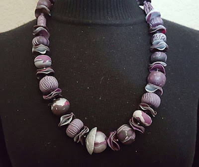 "Polymer Clay Necklace ""Big Bead Necklace-Gray Tones"" by Colorado Artist and Designer Gerri Calpin"
