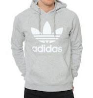 Adidas NEW Gray Heather Mens Original Trefoil Logo Hoodie Pullover Sweatshirt