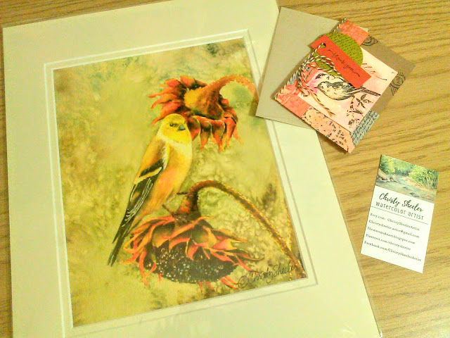 Goldfinch Snack Station Giclee Print © 2016 Christy Sheeler. She Must Make Art.
