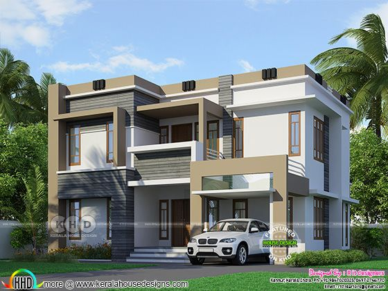 2326 sq-ft ₹48 Lakhs cost estimated flat roof house