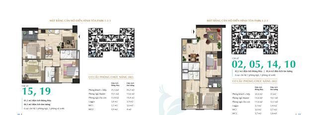 Thiết kế căn hộ 02, 05, 10, 14 và 15, 19