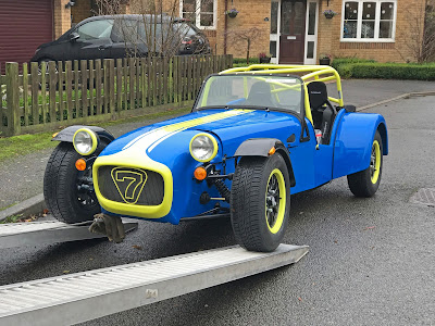 2017 Caterham Academy Car in Porsche Z12 Voodoo Blue with Sulfur Yellow Highlights - Going off for it's PBC