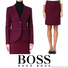 Queen Letizia wore Hugo Boss Jamayla Blazer and Valessima Skirt